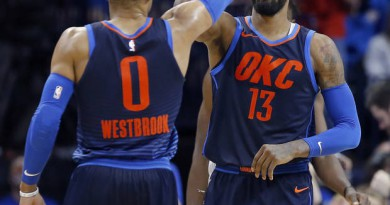 Oklahoma City's Russell Westbrook (0) and Paul George (13) celebrate during the NBA basketball game between the Philadelphia 76ers and Oklahoma City Thunder at Chesapeake Energy Arena, Sunday, Jan. 28, 2018. Photo by Sarah Phipps, The Oklahoman